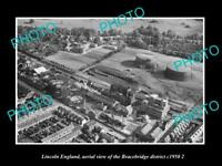 OLD LARGE HISTORIC PHOTO LINCOLN ENGLAND AERIAL VIEW OF BRACEBRIDGE c1950 3