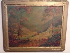 Vintage Landscape Painting Signed Ellis Grove? Illegible Orig. Artist Made Frame