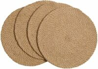 4-Pack Braided Placemats Natural Jute Heat Resistant Thick Hot Pads Mats Trivet