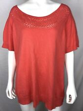 JACLYN SMITH Women's Pullover Sweater Size XXL Coral Top Short Sleeve Boat Neck