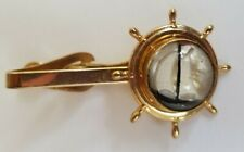 Mens Vtg Tie Clip bar sailing ship Ships Wheel nautical lucite jelly belly 1950s