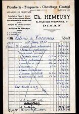 """DINAN (22) PLOMBERIE ZINGUERIE CHAUFFAGE """"Ch. HEMEURY"""" en 1950"""