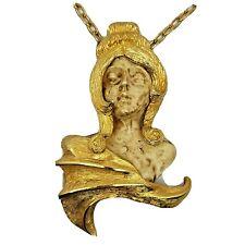 "Vintage Signed Razza Gold Tone Virgo Virgin Zodiac Necklace 20"" Beautiful!"