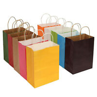 RECYCLABLE 10 COLORS PARTY BAGS KRAFT PAPER GIFT BAG HANDLE SHOP LOOT BAG COAL