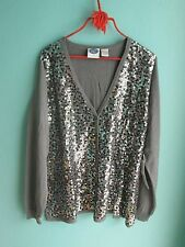 Diane Gilman DG2 NWT Embellished Cardigan Grey Sz 1X Sequined Front