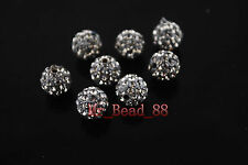 20p  European Crystal Rhinestone Pave Clay Round Ball Finding Bead 10mm 27Colors