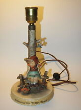 Vtg Antique Hummel Lamp Base / Just Resting Girl with Text in Front/ Base Switch