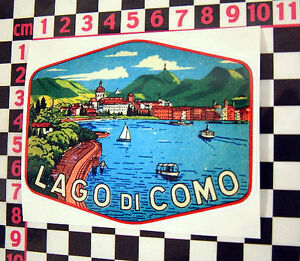 Lake Como Holiday Sticker-  Italian Classic Car Period Detail Decal Adesivo Fiat