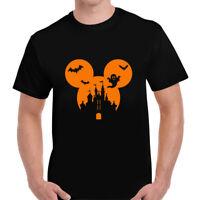 Halloween Disney Mickey Castle Popular Design T-shirt Tee Mens Unisex Top Tshirt