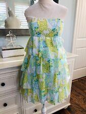 d78c108a95d5bb EUC Lilly Pulitzer Arden Strapless Dress Off the Hook Green Blue Fish Beach  0