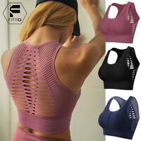 Womens Yoga Sports Bra Fitness Stretch Workout Seamless Racerback Padded Tops AM