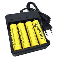4X Flat Top 18650 3.7V 9800mAh Li-ion Rechargeable Battery&4.2V EU Plug Charger