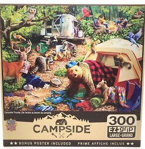Masterpieces CAMPSIDE Campsite Trouble 300 piece jigsaw puzzle EZ Grip NEW NIB