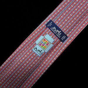 """HERMES TIE 645829IA Red Multicolour 100% Silk Tie """"Macaroon"""" exclusive series"""