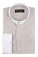 Jack Martin - Peaky Blinders Style - Tan Stripe Grandad Collar/ Collarless Shirt