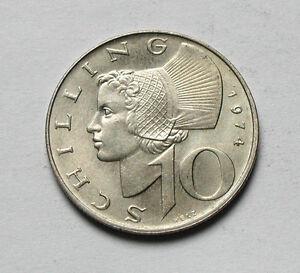 1974 AUSTRIA Coin - 10 Schilling - AU++ toned-lustre - Austrian girl in hat