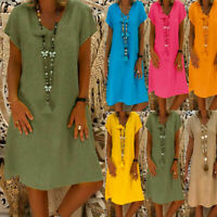Women Plus Size Summer Loose Long Top Sundress Ladies Casual Kaftan Shirt Dress