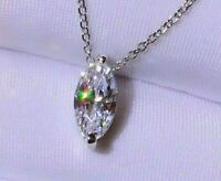 3.18Ct Marquise cut Solitaire Diamond Pendant Solid 14K White Gold/ No chain