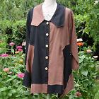 Veste Tunique Femme Grande Taille 58 60 Noir marron 50% lin DAYTON ZAZA2CATS new