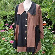 Veste Tunique Femme Grande Taille 54 56 Noir marron 50% lin DAYTON ZAZA2CATS new