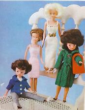 SINDY/Barbie Knitting Pattern Vintage Teen/poupée manteau robe veste 4 Plis/DK H123