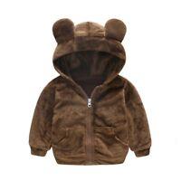 Toddler Kids Baby Boy Girl Faux Fur Teddy Bear Warm Hooded Coat Jacket Outwear