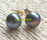 Charming AAA+ Tahitian 8-9mm Cultured black green pearl earrings 14k gold
