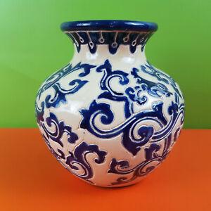 Blue White Round Flower Vase Bowl 18cm Tall