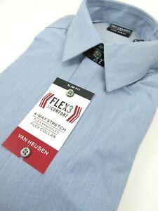 Van Heusen Mens Medium Flex3 Dress Shirt Slate Blue 15 1/2 34/35 Slim Fit NWT