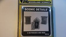 *  D214 3 OUTHOUSES & MAN 1:87 H0 Scale Model WOODLAND SCENICS