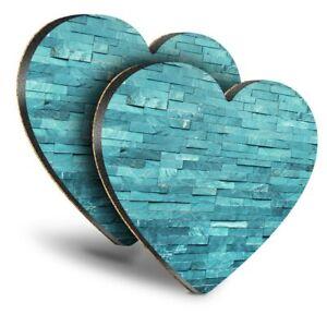 2x Heart MDF Coasters - Teal Stone Wall Interior Design  #15835