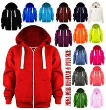 Womens Ladies Plain Coloured Zip Up Hooded Fleece Sweatshirt Hoody Jacket S-8XL