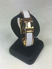 Hermes clic h brazalete blanco Weiss email oro dorado estrecho 15.5 cm 12 mm