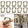 for Molle Gear Pack of 10 Khaki Multipurpose D-Ring Clips Hanging Hook Accessory