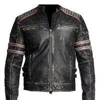 Mens Biker Vintage Motorcycle Distressed Black Cafe Racer Leather Jacket