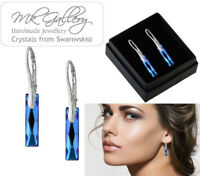 925 Sterling Silver Earrings 25mm Queen Baguette Crystals from Swarovski®