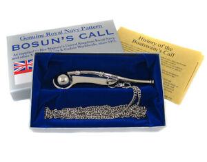 Royal Navy Bosuns Whistle RN Boatswains Call Nickel Plated Sea Cadet