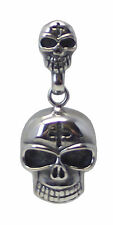 Double SKULL PENDANT Stainless Steel 50mm Drop Gothic