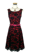 REVIEW Dress - Vintage Style Boat Neck Lace Belt Pleated Berry Pink Black - 8/S