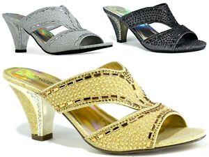 New Ladies Strictly Open Toe Stone Block Heel Party Wear Formal Women Sandal UK