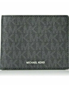 Michael Kors Jet Set Leather Wallet Black Logo NWT