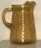 Vintage Amber Glass Thumbprint Water/Iced Tea Pitcher with Ice Lip  8 1/2""
