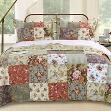 Great BEAUTIFUL XX LARGE GREEN BLUE PINK RED ROSE IVORY PATCHWORK BEDSPREAD QUILT  SET