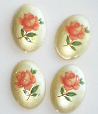 #1557C Vintage Japanese Glass Cabochons Bouquet of Flowers 11/15mm Limoges NOS
