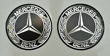 2pcs x MERCEDES BENZ (Dia 50mm) Vintage logo. Domed 3D Stickers/Decals.