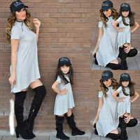 Mother and Daughter Casual Boho Grey Cotton Dress Mommy Matching Set Outfits New