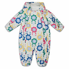 Ex Marks and Spencer Baby Girls Snowsuit Floral Printed Hooded Soft Fleece Lined