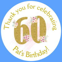 PERSONALISED GLOSS 60th BIRTHDAY PARTY FAVOUR LABELS,THANK YOU STICKERS