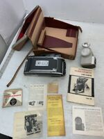 """Vintage Polaroid 900 """"Electric Eye"""" Land Camera with case, flash and paperwork"""