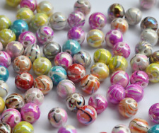 100pcs 8-10mm Striped round Acrylic Beads Colorful Water Wood Grain Beads